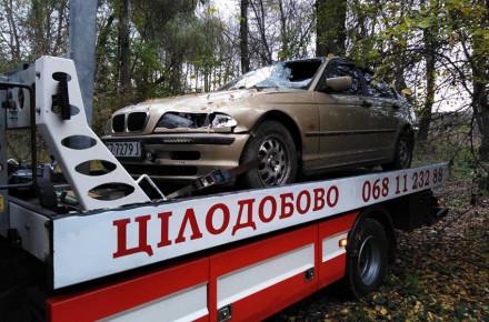 Закрытое и с разбитым лобовым стеклом: под Винницей нашли «BMW», который на смерть сбил человека. Фото